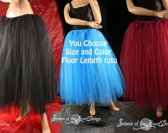 Custom Color adult tutu tulle skirt Floor length puffy petticoat dance wedding bridal formal costume - You Choose Size - Sisters of the Moon