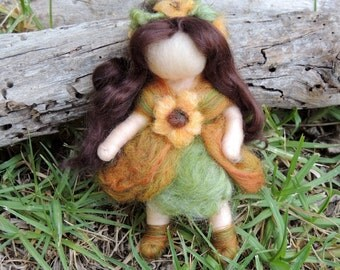 Sunflower Bendy Fairy -   Needle felted soft sculpture - Waldorf Inspired by Rebecca Varon