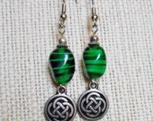 Vintage Green Swirled Glass and Silver Celtic Knot Charm Dangle Earrings