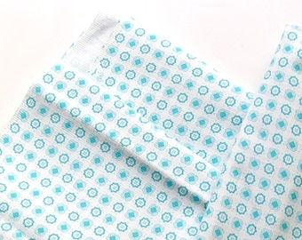 "Light Cotton Fabric, Blue White Cotton, Children clothes, Cotton Fabric, Vintage Fabric, Turquoise White, Early 1970s, 37"" X 44""."