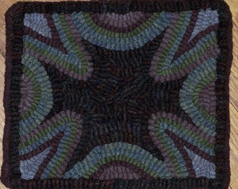 Primitive Hooked Table Mat, Blues and Purples, GRAPES by Sally Van Nuys