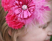 Boutique SHOCKING PINK Glitz Glamour Bloom Hair Flower clip marabou feathers glitter tulle bling headband