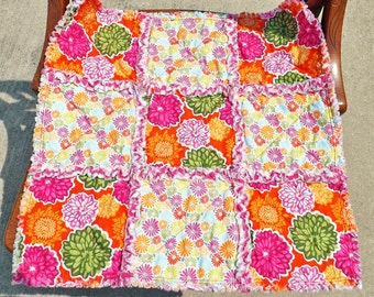 Rag Quilt Lovey - Security Blanket - Pink Yellow Orange Flowers - Baby Bedding - Baby Blanket - Baby Rag Quilt - Baby Girl Lovey