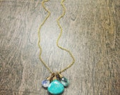 Sleeping Beauty Turqoise, Rainbow Moonstone, Aquamarine and 14k Gold Fill