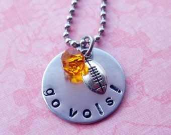 Hand Stamped Tennessee Vols Football Necklace