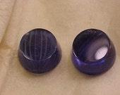18 blue glass gumdrop cabachon stones spiderweb etched Joline Import dome shaped