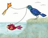 Children's Art Print, Kids Wall Art, Nursery decor, Bird art print
