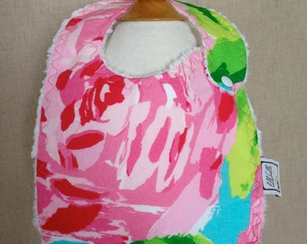 first impression hotty pink baby bib ~ lilly baby ~ lilly pulitzer
