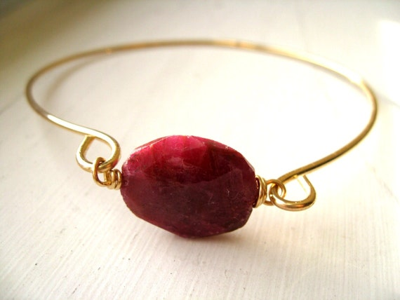 Raw Ruby Bangle Gold 14K goldfilled July birthday Stacking bangle bracelet by Vitrine Mother's Day Gift for her Under 75