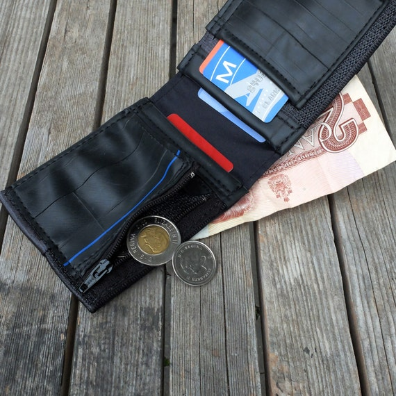 s wallet made from reclaimed seat belt straps and used
