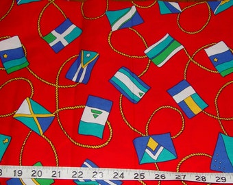 Nautical Flags on Red Fabric - almost 1 yard