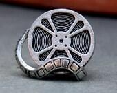 Tie Tack - Film Reel, Antique Silver Finish