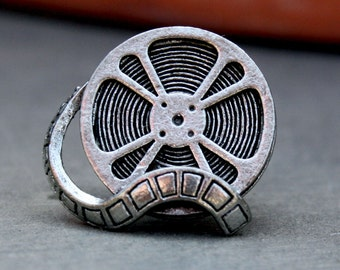 Tie Tack - Film Reel, Antique Silver Finish