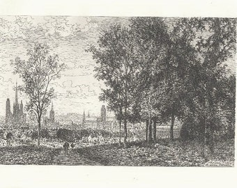 MAXIME LALANNE Etching, ROUEN  Etching 1800s Victorian Era Antique Art Print [Inv#LndEth 13