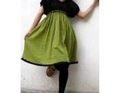 Custom Made Black  and Green cotton Patchwork Short Tunic Blouse Boho Dress  S - XL  (H)