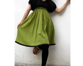 Custom Made Black  and Green cotton Patchwork Short Tunic Blouse Boho Dress  S - XL  (H)