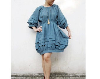 Custom Made Blue Cotton Short Simply Pleats Tunic Spring Summer Dress Blouse   (H)