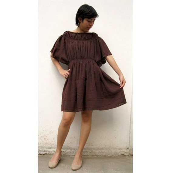 Custom Made Brown Cotton Short Baby Doll Dress S-L  (H)