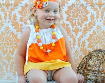 Pillowcase Dress Candy Corn Halloween Fall Kids Clothes baby toddler girl