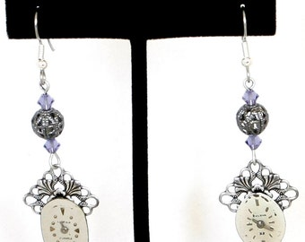 Steampunk Antiqued Silver Ornate Earrings with Vintage Watch Faces and Tanzanite Purple Swarovski Crystal Beads by Velvet Mechanism