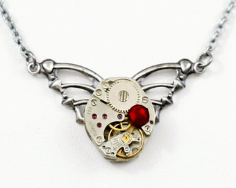 Steampunk Winged Clockwork Tribal Antiqued Silver Necklace with Vintage Watch and Ruby Red Swarovski Crystal by Velvet Mechanism