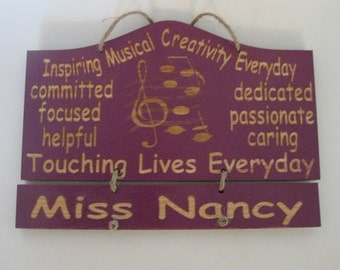 Music Teacher's Gift Personalized Wooden Wall Hanging