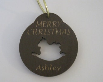 Personalized wooden christmas cut out rocking horse ornament or gift tag