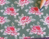Dollhouse Miniature UPHOLSTERY FABRIC Pink Tea Rose on Dark Sage 1/12th 1/24th Playscale