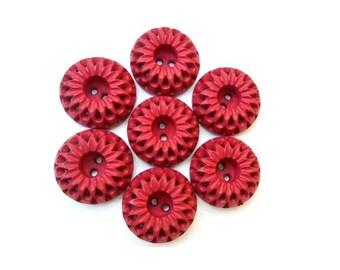 Vintage, 6 plastic buttons  flower shape, beautiful pink 21mm, 8mm height, UNIQUE