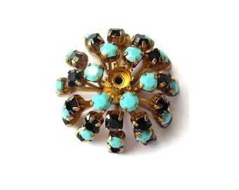 SWAROVSKI Flower bead 30mm antique vintage  metal with black and turquoise crystals- RARE