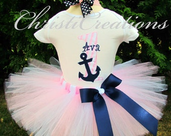 Nautical Themed - aby Girl 1st Birthday Tutu Set - Anchor - Sailor - Party Outfit - Photo Prop