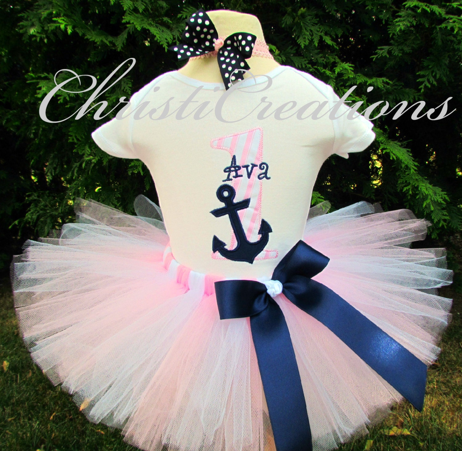 Birthday Party Outfit: Baby Girl 1st Birthday Outfit Nautical Birthday First