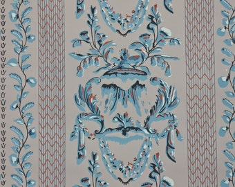 1950s Vintage Wallpaper by the Yard -  Blue and Taupe Victorian Design