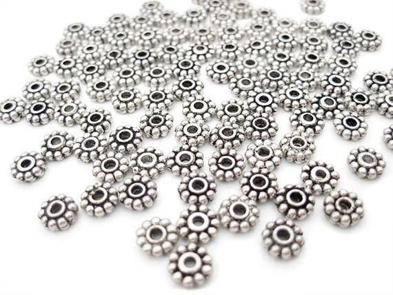 Reserved for Blondi6610 300 5mm Daisy Spacer Beads - Antique Silver TS236B