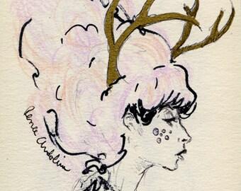 Oh Deer - fine art print Illustration