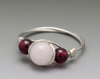 Morganite Pink Beryl & Pyrope Garnet Sterling Silver Wire Wrapped Bead Ring - Made to Order, Ships Fast!