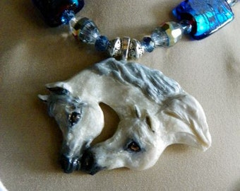 "Arabian Horse Necklace, ""Friends"", Glass & Polymer"