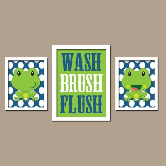 Frog bathroom wall art canvas or prints nursery child for Frog bathroom ideas