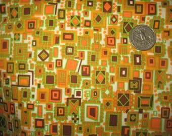 Vintage 60's Cotton Fabric Geometric Mid Century Orange w/ White & Green 1.7 yards