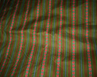Vintage 60's Printed Polished Cotton Fabric Stripe Geometric Mid Century 4.9 yards