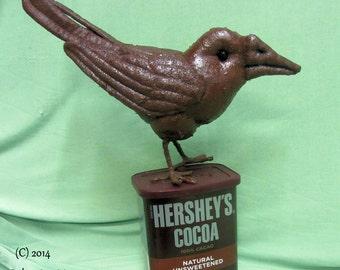 Soft Sculpture  Crow, Primitive Crow, Faux Chocolate painted Crow,