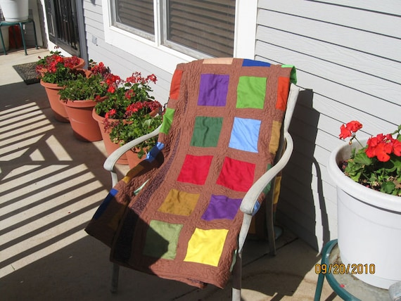 Window Box Quilt by Karen With Bright Solid Windows in three sizes
