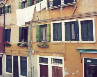 Venice  Italy Wall Art, Travel Photograph, Rust Gold Architecture, Window Art, Clothes Line 'Venice Apartments'