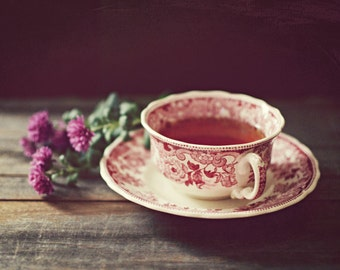 "Still life photography teacup and flower rustic wall art barn wood country kitchen print ""Tea and Flowers"""