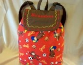 Curious george SALE 16% off  med or large Sports soccer basketball school book back pack for all ages add a name tote bag