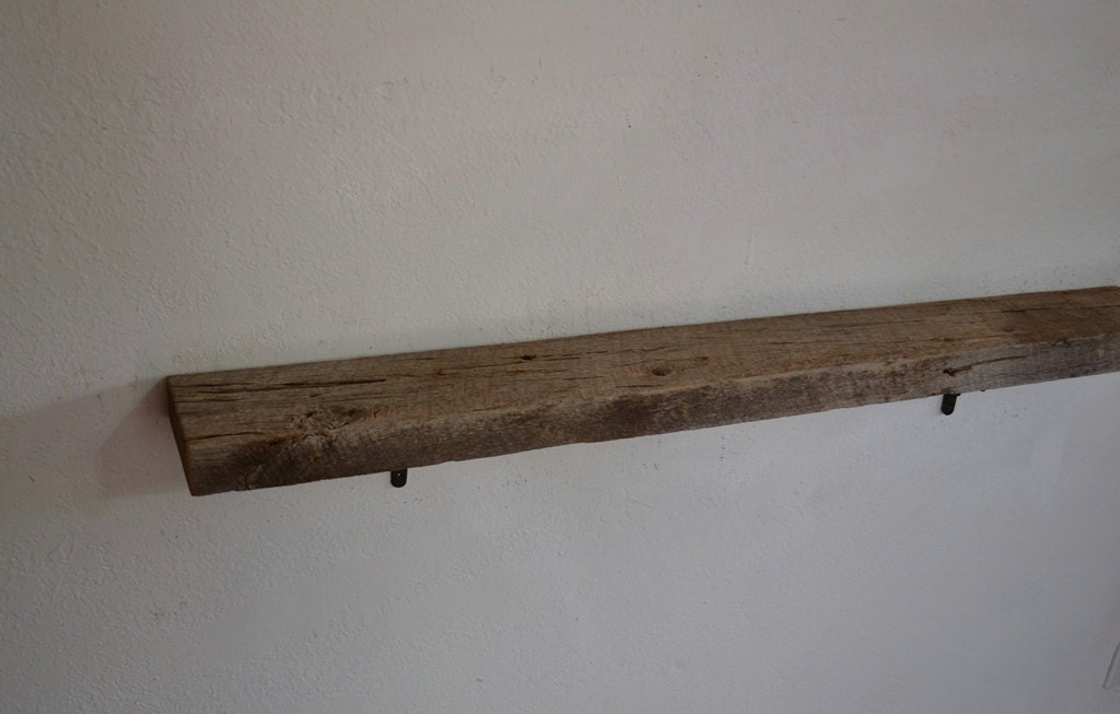 reclaimed wood wall shelf with brackets 47 x 6 x 6. Black Bedroom Furniture Sets. Home Design Ideas