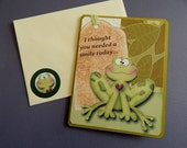 Frog birthday, birthday card, handmade, complete inside, complete outside, original verse, balsampondsdesign, green, brown, greeting card