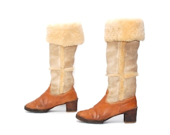 size 9 WINTER tan leather 70s SHEARLING FLEECE pull on high heel boots