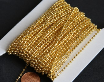 10 ft of Gold plated ball chain 2.4mm