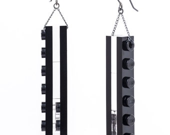 black and white tower dangle earrings